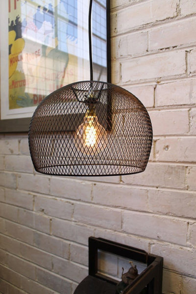 Wire Basket Pendant Light Black Metal Shade With 3 Metre