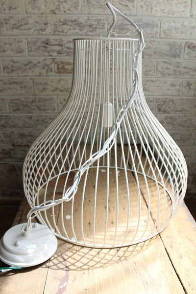 Wire cage pendant light with ceiling rose and chain