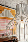 Wire cage pendant light with exposed vintage bulb