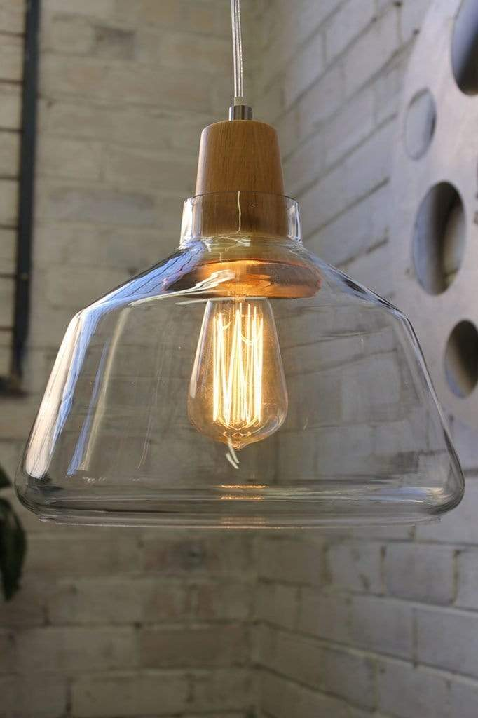 Wood top glass light with teardrop squirell cage edison bulb