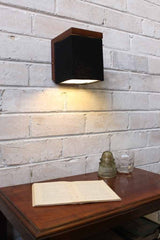 Wood Wall Lamp with Black Fabric Shade b70678a2-0bca-4412-84b8-3402af41a7e6