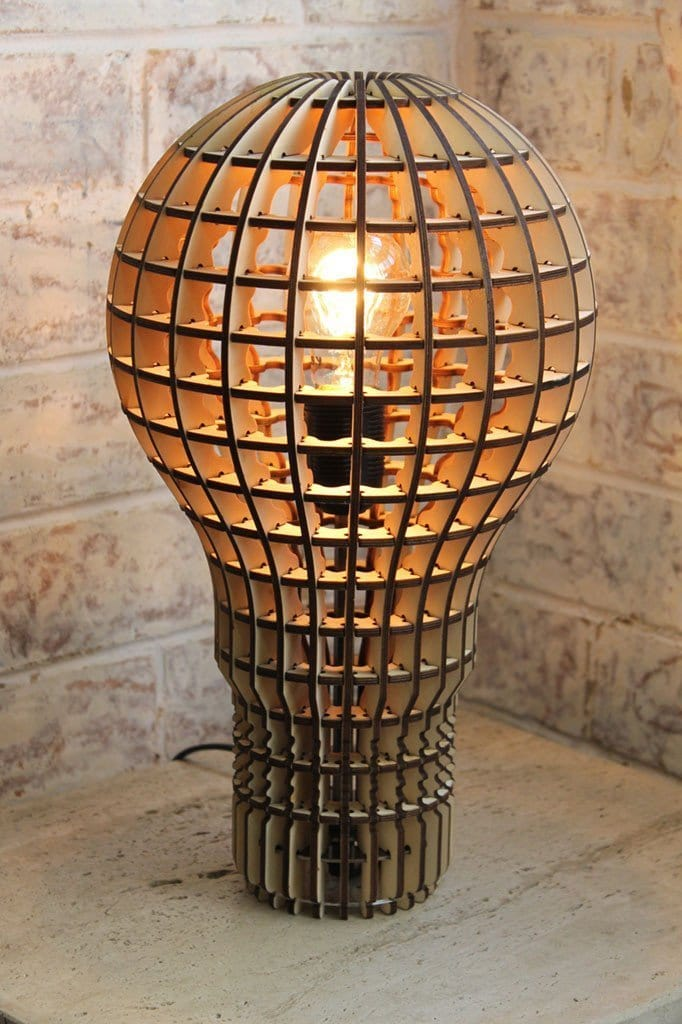 Wooden bulb table light