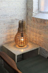 Wooden bulb table light with glowing bulb