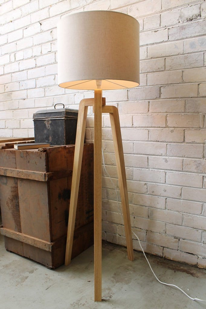 Wooden tripod floor lamp fabric shade