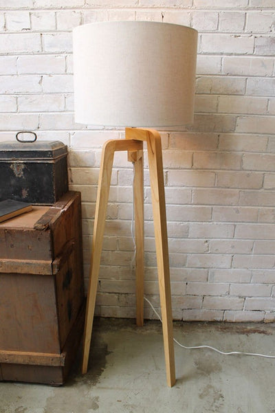 Wooden Tripod Floor Lamp With Fabric Shade Fat Shack Vintage