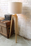 Wooden tripod floor lamp raw timber