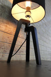 Wooden tripod lamp fabric shade in black