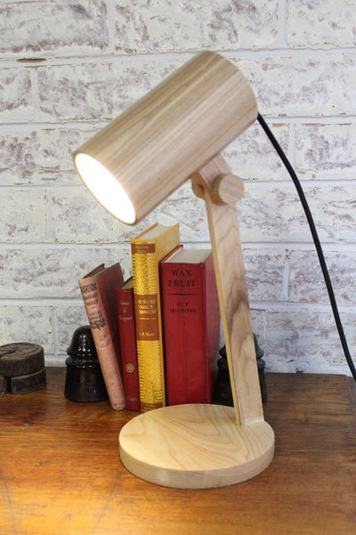 Wood Cylindrical Table Lamp