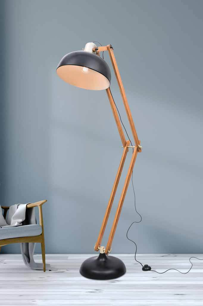 Woodsmoke lamp. matt black and dark walnut floor lamp with brushed brass.