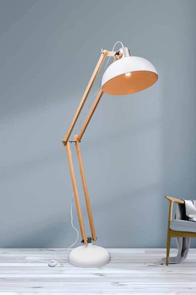 Woodsmoke floor lamp matt white and natural rubber wood floor lamp with brushed