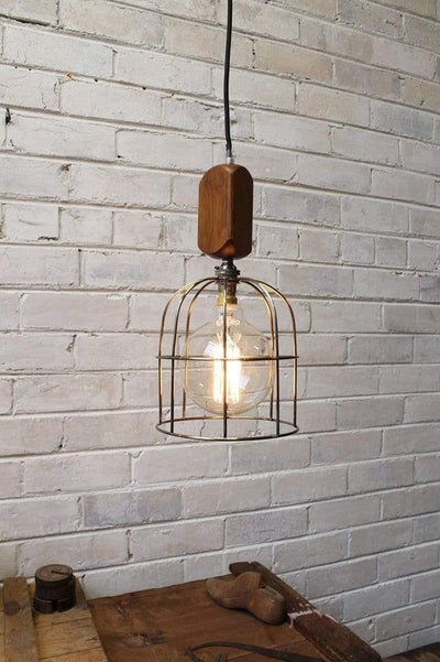 Workhouse cage lights large round antique brass
