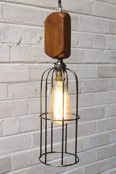 Workhouse cage lights long antique brass cage