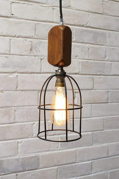 Workhouse cage lights small round antique brass