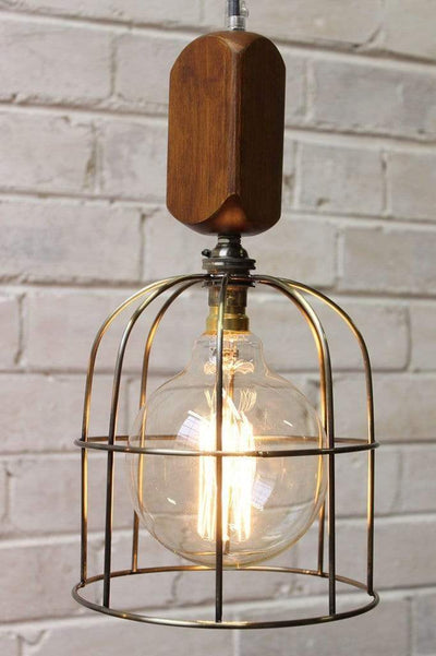 Workhouse cage lights with wooden block pendant cord