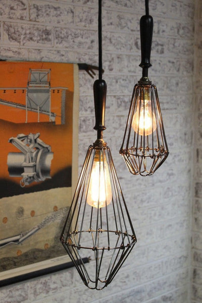 Workshop cage pendant lights dimond like with round cord