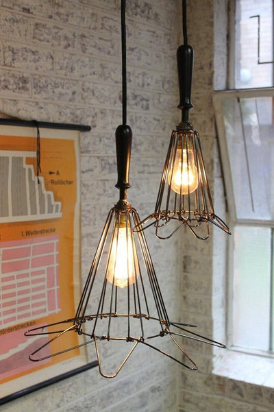Workshop cage pendant lights expanded with round cord
