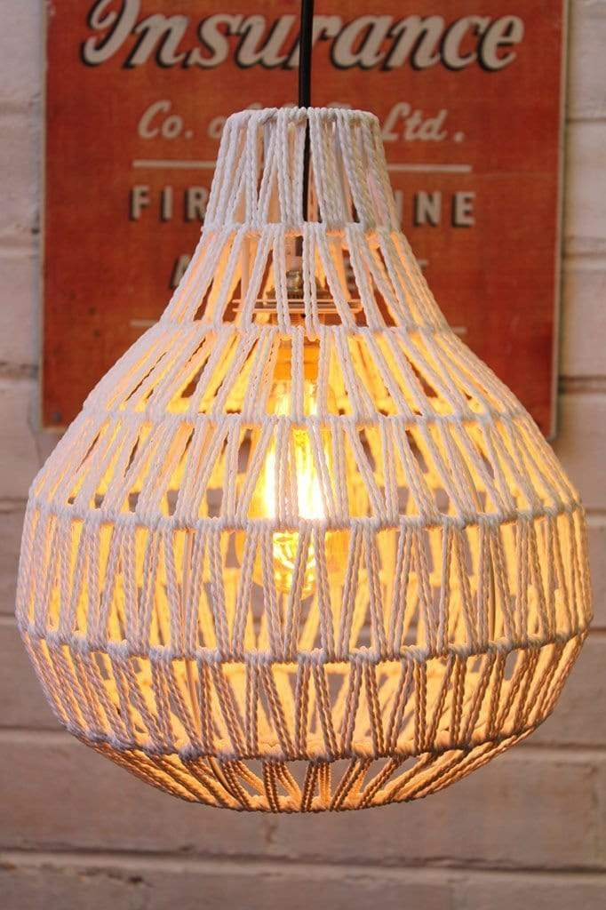 Woven pendant light with vintage style led bulb