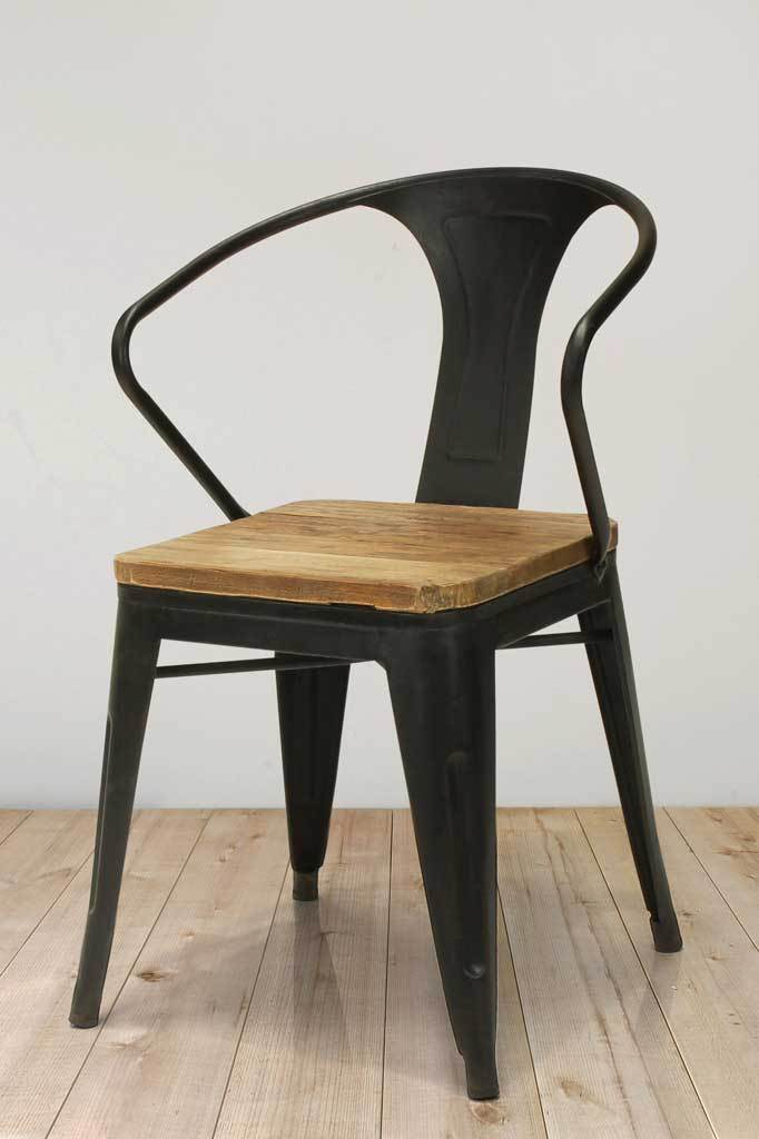 Antique black steel armchair cafe chair wooden online shopping Australia