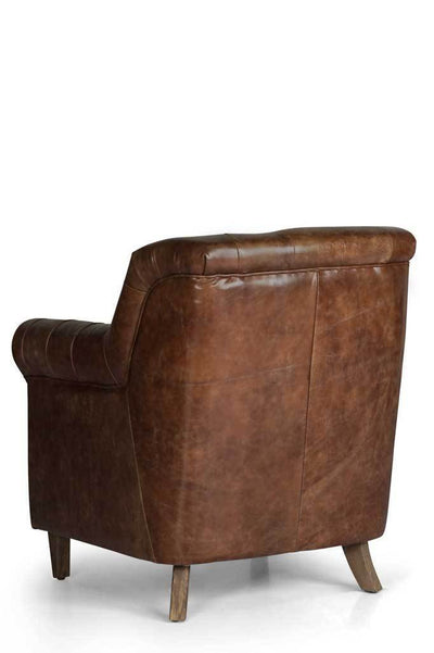Back2 chesterfield leather club chair Australian online furniture small armchair brown upholstery