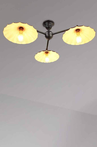 Black 3 light vintage umbrella flush mount ceiling great living room light