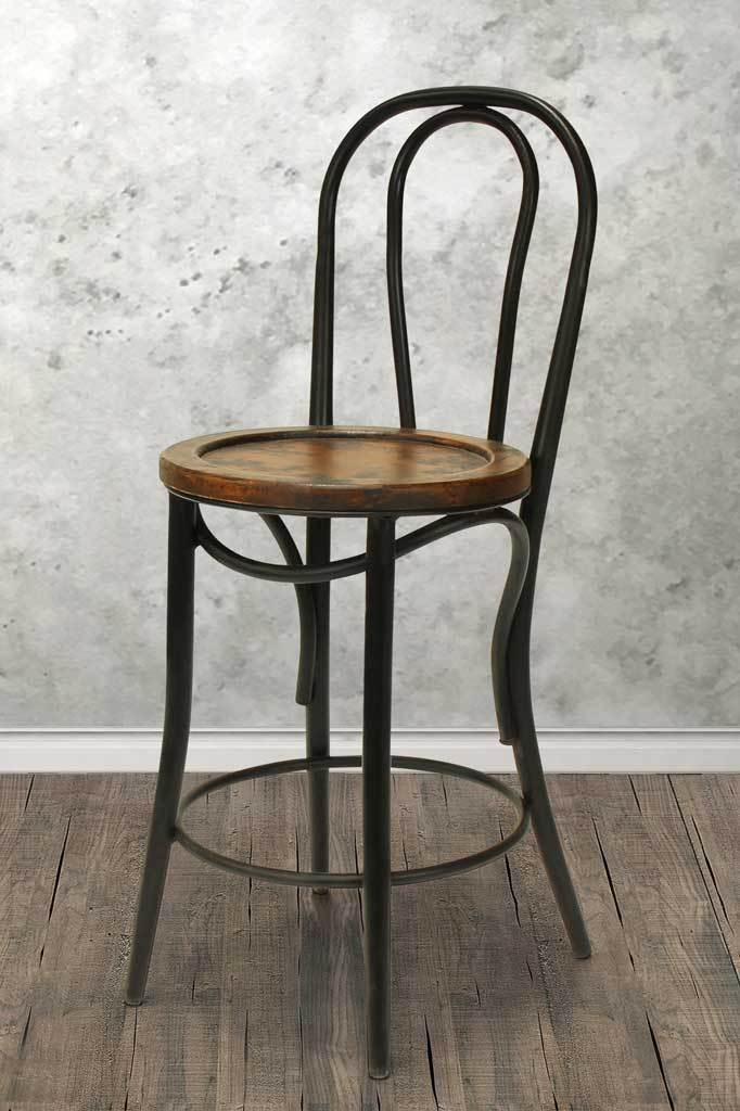 Black bentwood kitchen counter bar stool