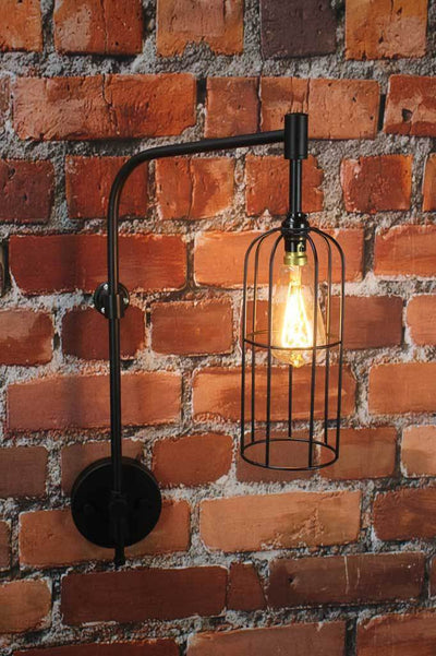 Black cage wall light buy online Melbourne industrial lighting