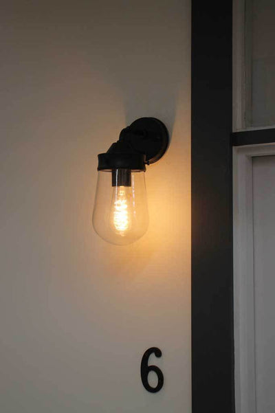 Black industrial outdoor light