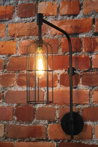 Black industrial wall light cage modern urban interior design