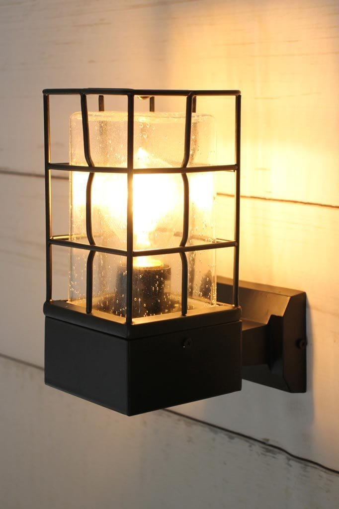 Black outdoor wall light with grid wire catch and rectangular inner shade
