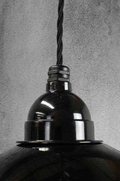 Black enamel shade with twisted black cord
