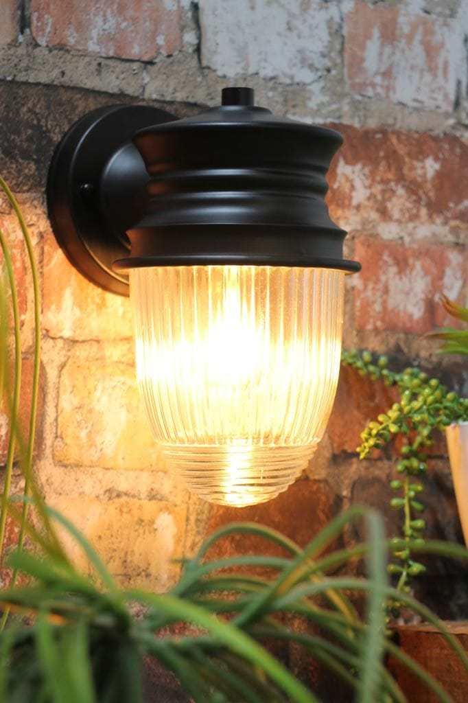 Brick home outdoor wall light with matt black clear glass
