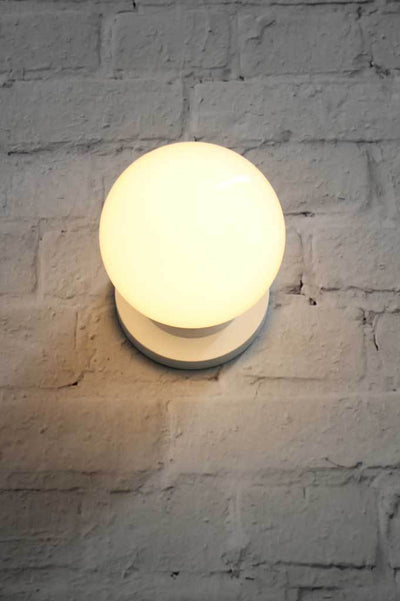 Globe Wall Light Opal Glass Black Gold Or White Finish