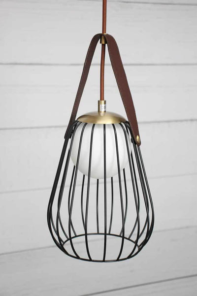 Cage guard opal glass pendant lights cafe lighting