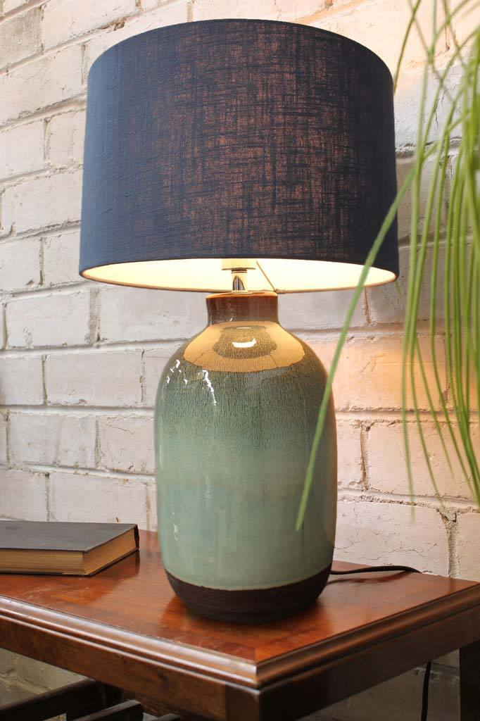 Ceramic table lamp organic boho bedside bedroom lighting
