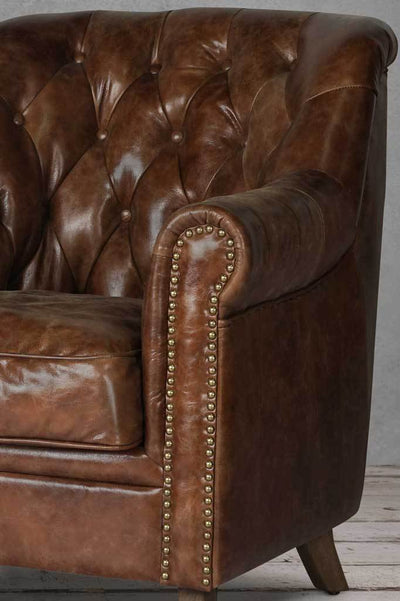 Chesterfield leather club chair Australian online furniture small armchair brass studs