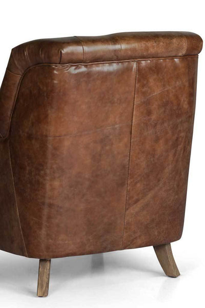 Chesterfield leather club chair Australian online furniture small armchair brown upholstery