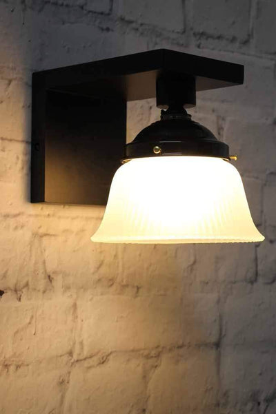 Classic vintage style wall light with holophane glass on bell shaped shade