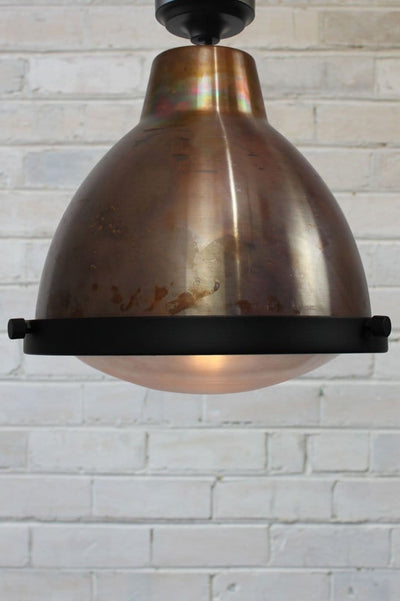 Clear glass copper ceiling light