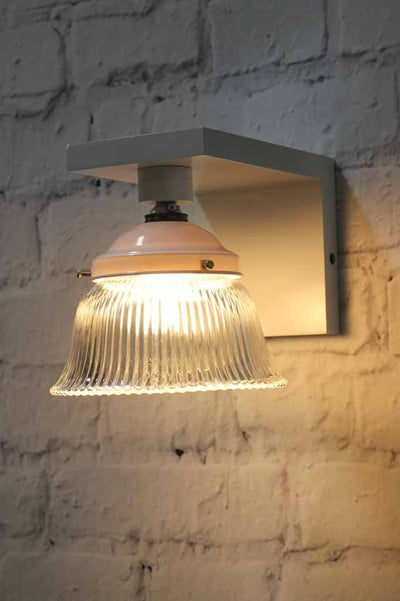 Clear pressed glass shade with white wooden wall sconce vintage lighting
