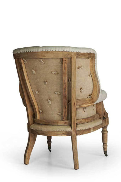 Closer shot wingback french provincial fabric armchair Australian furniture online rustic