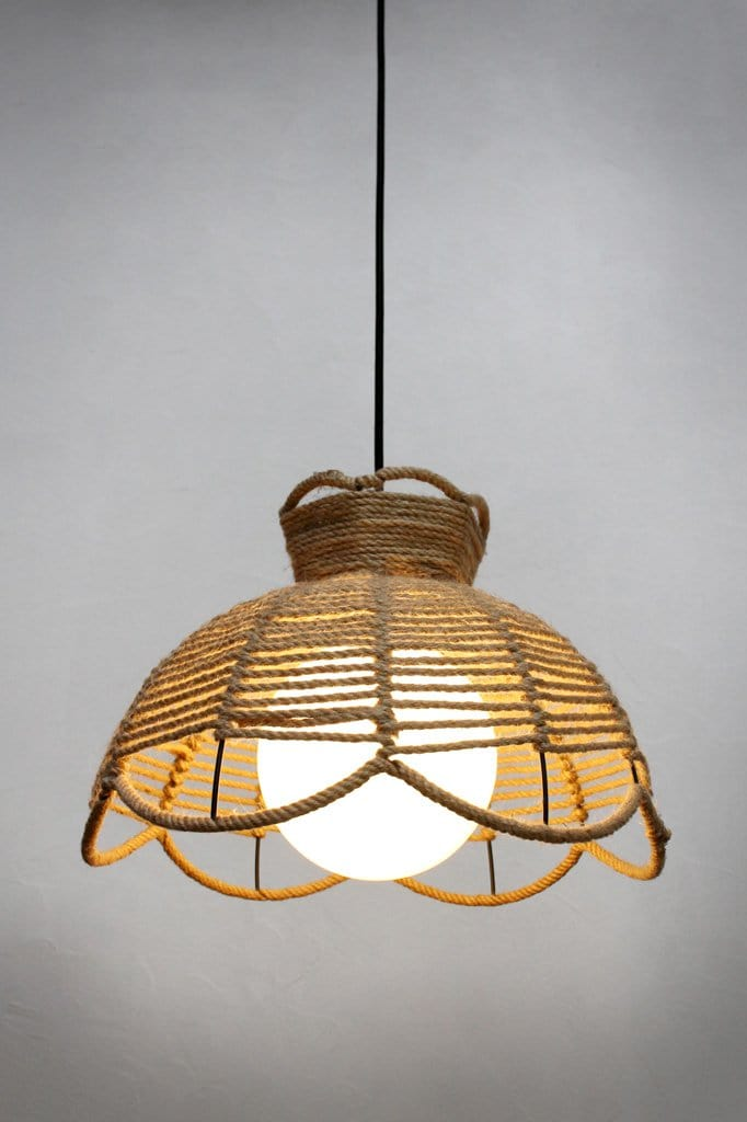 Woven rope pendant light with glass ball shade