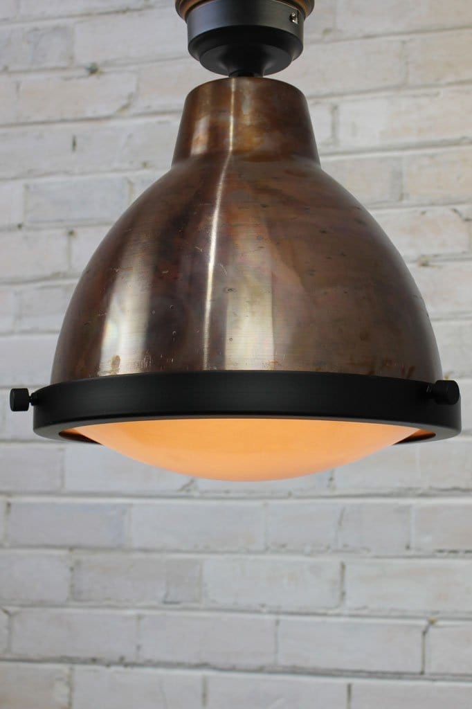 Copper ceiling light with frosted glass cover