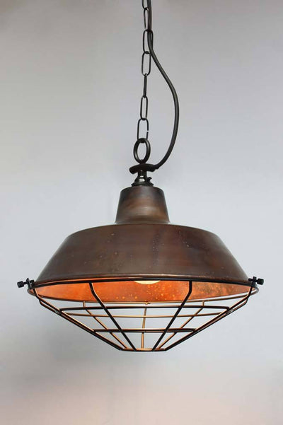 Copper industrial pendant lighting side entry chain black cage