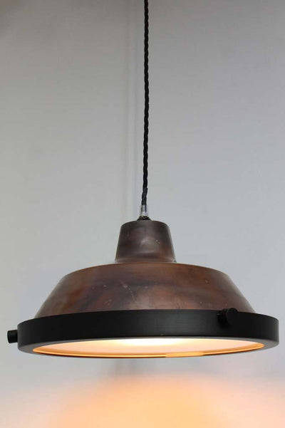 Copper hanging light with flat glass shade cover