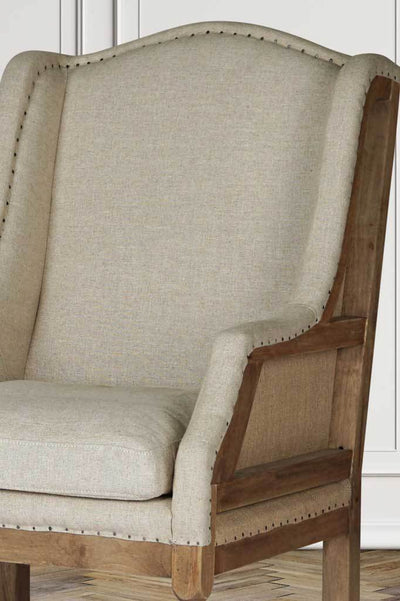 Deconstructed fabric armchair french style library chair vintage exposed aged wood