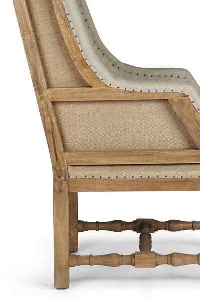 Deconstructed fabric armchair french style library chair vintage exposed wood carved woodframe