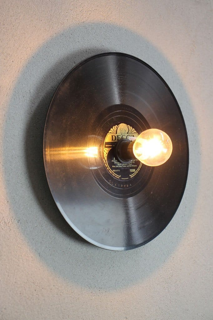 Vintage record wall light