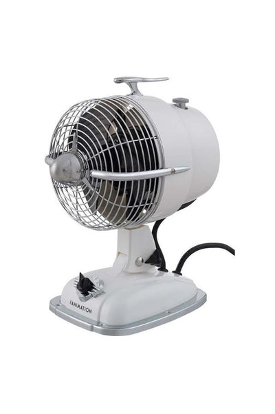 Desk fan in ivory with speed control and fan cage. ideal table fan or office desk fan