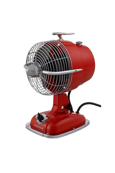 Desk fan in red with speed control and fan cage. ideal table fan or office desk