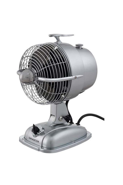 desk fan in silver with speed control and fan cage